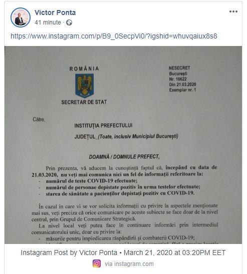 Document oficial făcut public de Victor Ponta